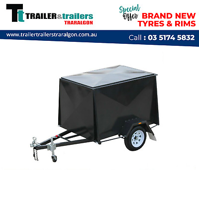 6x4  ENCLOSED VAN TRAILER 4FT HIGH NEW WHEELS NEW TYRES CHECKER PLATE FLOOR