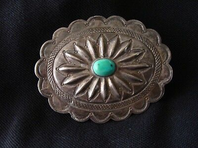 OLD Navajo Ingot Silver Natural Tuquoise Concha Repurposed Into Belt Buckle OLD!