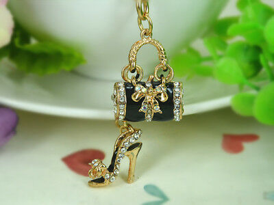 T Black Bags High-heeled Shoes Keyring Rhinestone Crystal Key Chain Pendant Gift
