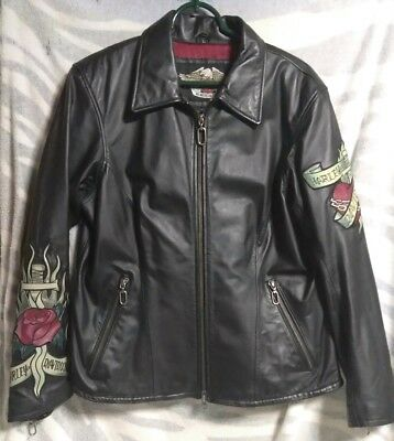 Harley Davidson Women's Leather Jacket Leather Tattoo Patches. Large