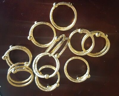 SET of 8 Nice ! Gold Metal Coil Twist Napkin Rings Decoration SPRING Summer