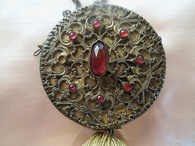Pretty French Art Deco Jeweled Compact with Bevel Mirror