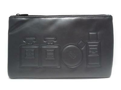 Authentic CHANEL Pouch Bag Lambskin Leather Black