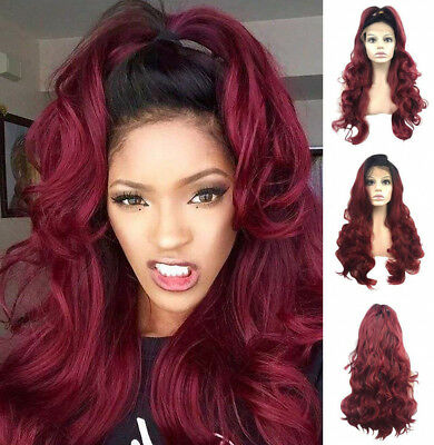 AU STOCK Fashion Heat Resistant Hair Bug Wig Wavy Synthetic Lace Front Wigs
