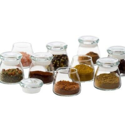 Glass Mini Vibe Jar Set Lids 12-Pce Kitchen Pantry Spices Food Storage Canisters