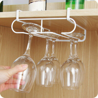 Stemware Wine Rack Glass Hanging Holder Under Cabinet Hanger Bar Organizer