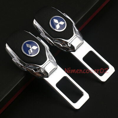 2x Car Parts Interior Accessories Safety Seat Belt Plug Clip Logo For Mitsubishi