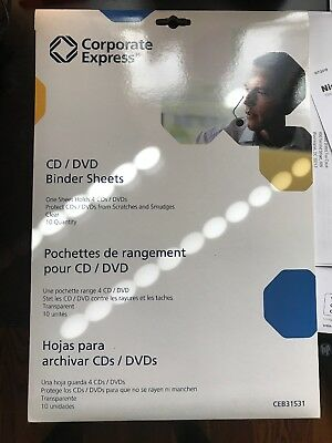 10 CD/DVD Protector Sheets for 3-Ring Binder from Corporate Express CEB31531
