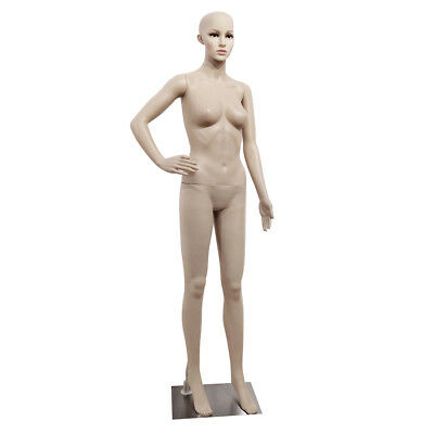 Full Body Female Mannequin Plastic Clothes Display Head Turns Dress Form w/ Base