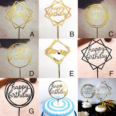 Letter Cake Topper Kids Baby Shower Happy Birthday Party Cupcake Decor Supplies