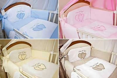 6 Pcs Embroidered Baby Bedding Set + Fitted Sheet Fits Cot Cot Bed - Plain Heart