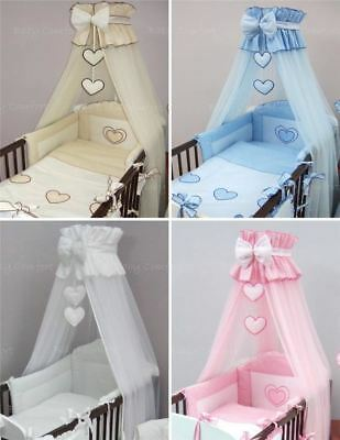 11 Pcs Embroidered Baby Canopy Bedding Set For Cot/ Cot Bed - Hearts