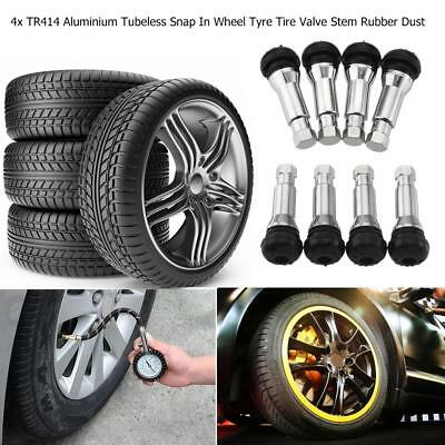 4pc TR414 Chrome Tubeless Snap In Wheel Tyre Tire Valve Stems Rubber Dust Cap