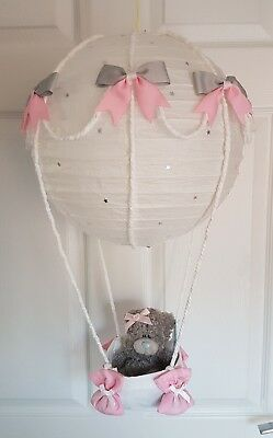 Hot Air Balloon pink grey with a me to you bear Looks Stunning  Nursery Baby