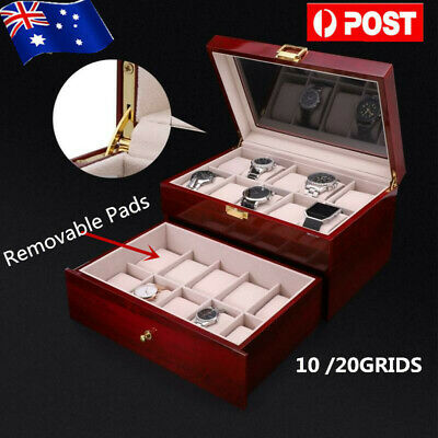 10/20 Glass Wooden Watch Jewelry Display Case Collection Storage Holder Box AU