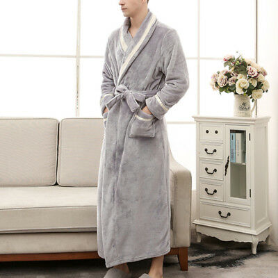 Unisex Long Soft Cover Toweling Bath Robe Dressing Gown Cover  Fleece Home Coats