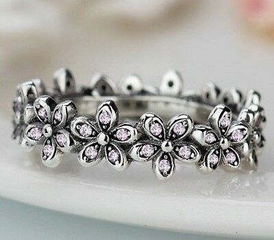 98c888fd5 Genuine Sterling Silver 925 Dazzling Shimmering Daisy Flower Band Ring Size  58