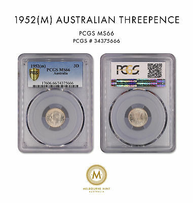 1952m Australia Threepence 3D PCGS GRADED-MS66