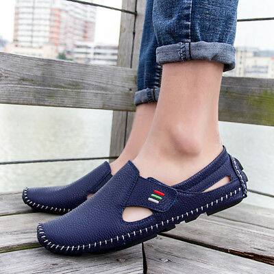 Men's Summer Slip On Driving Loafers Casual Leather Flat Shoes Comfy Boat Shoes