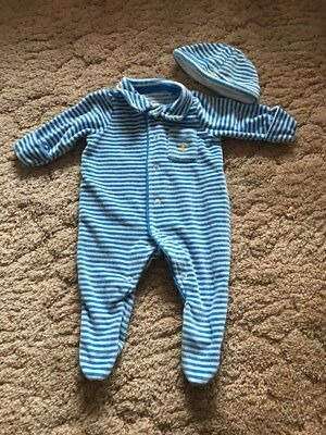 Baby Boys Velour Autograph Babygro Up To 1 Month