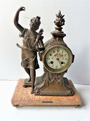 Antique pendulum clock regulated and marble FLOWER per RUCHOT 20th