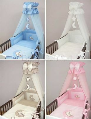11 Pcs Embroidered Baby Toddler Bedding Set Canopy For Cot/ Cot Bed - Moon