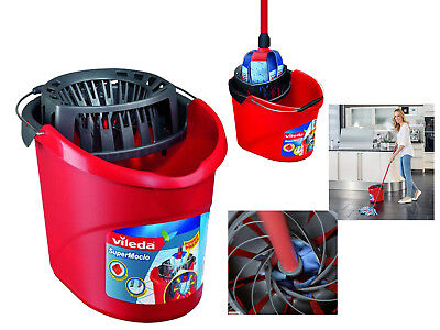 New Vileda Supermocio Mop Bucket & Wringer Cleaning With Power Press FH122240