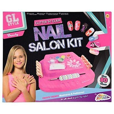 Girls Glitter Glam Nail Art Play Set Girls Makeup Beauty Craft DIY Art Toy
