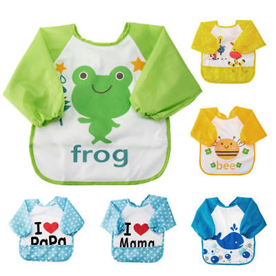 Kids Baby Waterproof Smock Apron Long Sleeve Toddler Art Bib Feeding Bibs