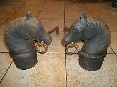Vintage Cast Iron Horse Andirons for Fireplace Wood