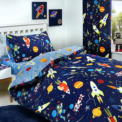Bedlam SUPERSONIC Space Rocket & Planets GLOW IN THE DARK Childrens Bedroom Set
