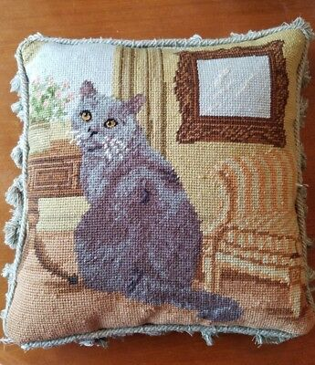 Gray Russian Blue Cat wool Needlepoint Square Pillow Tassel Trim Pillow handmade