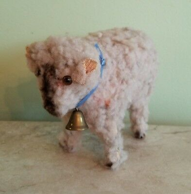 Vintage Paper Mache Miniature Small Sheep Glass Eyes Doll size