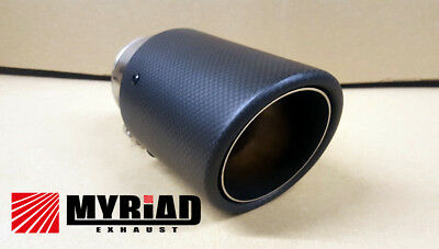 Carbon Black Exhaust Tip Tailpipe Stainless Steel Inner 60mm Ideal for BMW AUDI