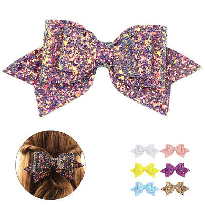 Children Bows Sequin Hairpin Clips Hair Accessories Barrettes Leather