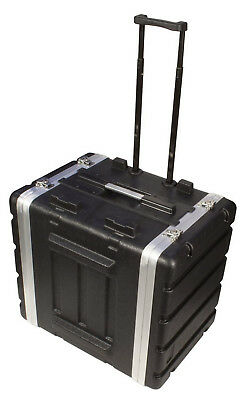 """Tote able Rack, Wheels Pull Handle Case 7-8U Space Lightweight 16.5"""" Deep Shell"""