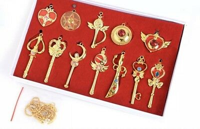 Sailor Moon 12pcs Key Chain Ring Pendant Necklace Pretty Guardian Cosplay Gold