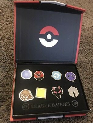Pokemon Johto 8 Metal League Gym Badge Pin Pip Gen 2 Cosplay Art Collection Set