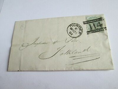 1881 Inspector of Poor Falkland, Jessie Gilmore Catherine St, Green stamp Dundee
