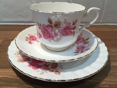 Vintage Salisbury English bone china tea cup trio set pink floral design
