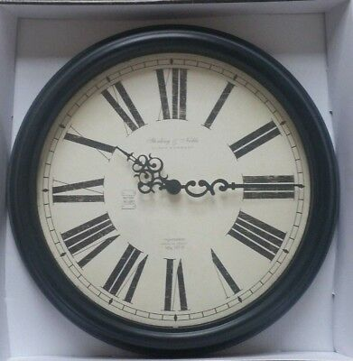 Sterling & Noble Wall Clock, Antique Design, Glass & Faux Wood Roman Numerals