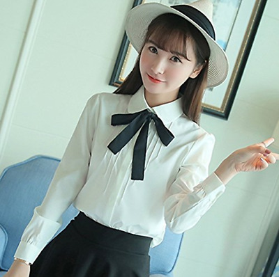 Ladies Girl Bowknot Baby Peter Pan Collar Women Shirt Button-Down Shirts Blouse