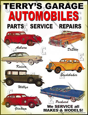Beautiful Personalized Garage & Automobiles Sign Ready To Frame Nice! *p2