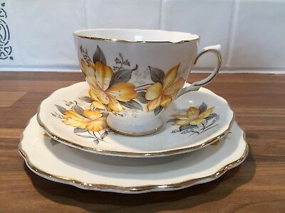 Vintage English bone china tea cup trio set beautiful yellow floral design