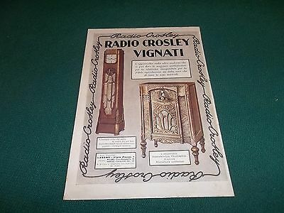 pubblicità ADVERTISING 1932  RADIO CROSLEY VIGNATI OROLOGIO RADIO MOBILE WERBUNG