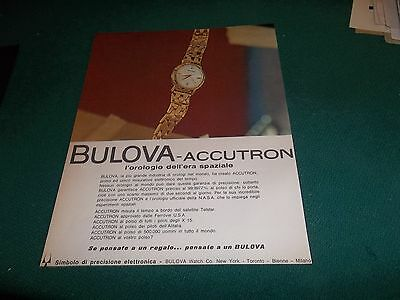 pubblicità 1963 OROLOGIO  WATCH BULOVA ACCUTRON ERA SPAZIALE ADVERTISING WERBUNG