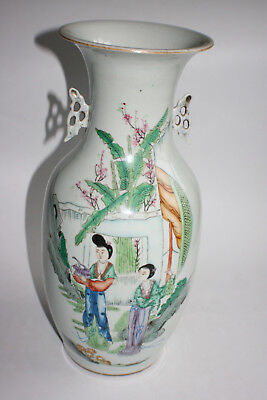 Antique Chinese Porcelain Hand Painted Character Picture & Writing Large Vase