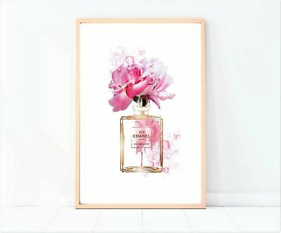 coco chanel watercolour perfume bottle pink floral print/poster