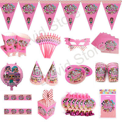 LOL Surprise Birthday Party Decoration Kids Girls Tableware Favor Tablecloth Cup