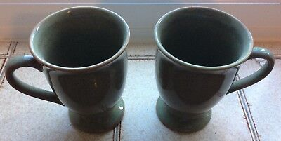 Pair of Churchill Mugs. Green and Speckled Brown.